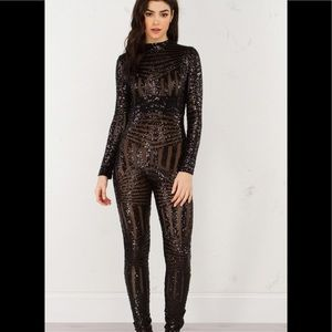 Akira sz medium sequined jumpsuit sequin jumpsuit